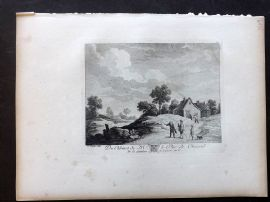 After David Teniers C1820 Antique Print. Villagers, Landscape